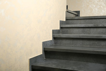 Gray Stone Steps In The House. Granite Gray Staircase