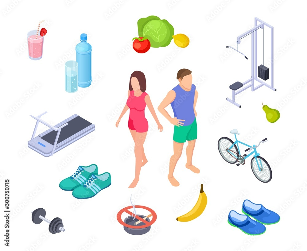 Fototapety, obrazy: Healthy lifestyle. Good habits sport activity. Regular exercises, diet nutrition. Isometric man woman farm food shoes. Sport lifestyle, health fitness training illustration