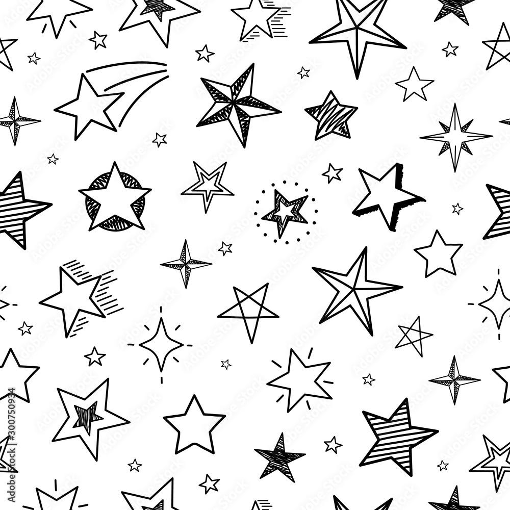 Fototapeta Sketch stars seamless pattern. Hand drawn grunge starry sky. Doodle textile print vector geometric texture. Texture sketchy scribble stars pattern illustration