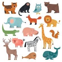 Cartoon Animals. Tiger, Monkey...