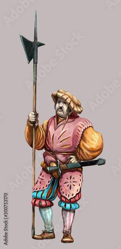 Mercenary with  halberd Canvas Print