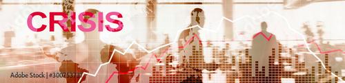 Fotografía Financial Crysis Recession Economic concept. Red Website Banner.
