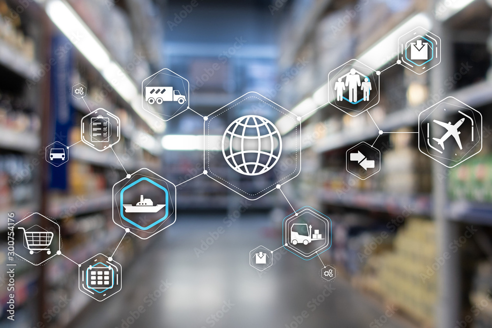 Fototapety, obrazy: Logistics and transportation concept on supermarket background.