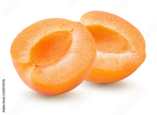 two halves of apricot isolated on a white background Canvas Print