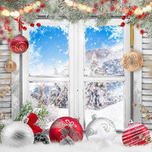 Christmas Old White Window With Decorations, Lots Of Copy Space For Your Product Or Text.