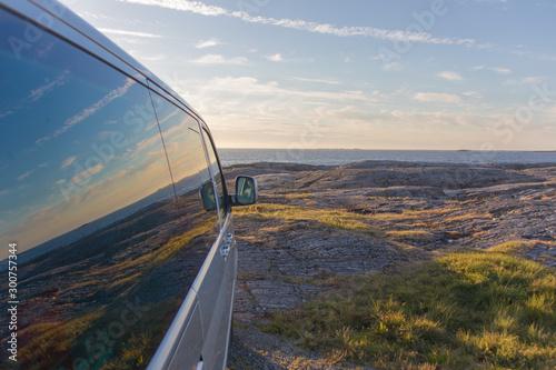 Atlantikbrücke Norwegen mit Spiegelung in Scheibe Canvas Print