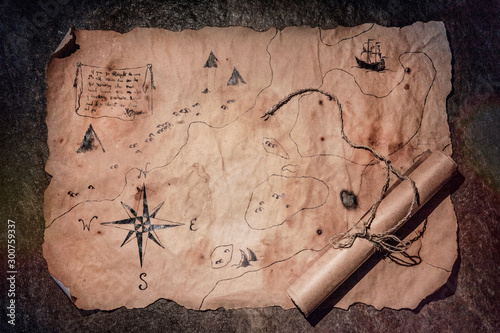 Fotomural old map on stone, table of pirate, map of treasures,