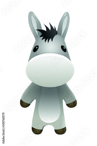 Photographie Donkey Mascot 3D Cartoon Character