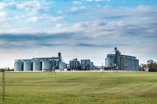agro-processing and manufacturing plant for processing and silver silos for drying cleaning and storage of agricultural products, flour, cereals and grain Canvas Print