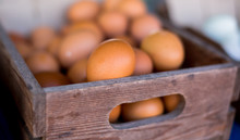 Many Fresh Eggs In Wooden Box....