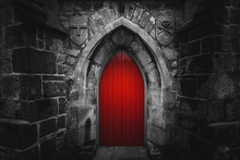 Scary Pointy Red Wooden Door I...