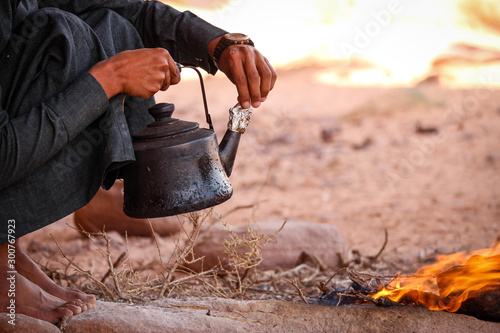 Bedouin tea preparation in the desert of Wadi Rum Jordan Canvas Print
