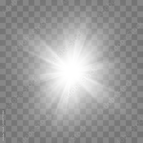 White glowing light burst explosion with transparent Fototapete