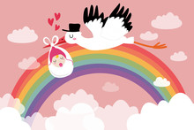 Flying Stork With A Rainbow Newborn Baby Surrounded By Clouds