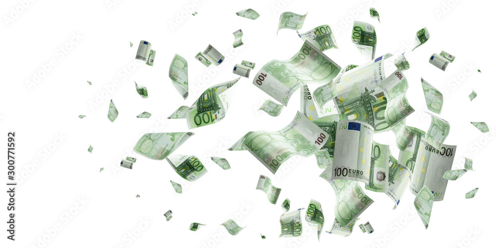 Fototapety, obrazy: Money falling. Banknote falling isolated textures on white background.
