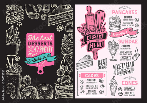 Cuadros en Lienzo Dessert menu food template for restaurant with doodle hand-drawn graphic