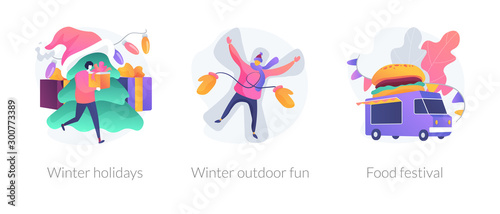 Fotomural Christmas celebration, wintertime active recreation, fast food party icons set