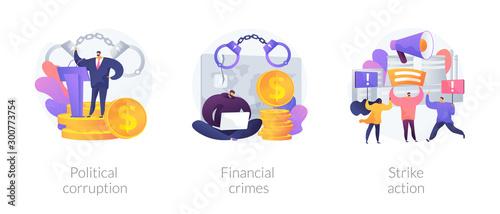 Foto Dishonest government, money laundering, social demonstration icons set