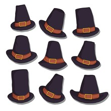 Set Of Pilgrim Hat Vector Illustration.