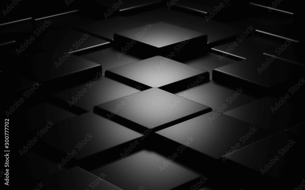 Fototapety, obrazy: Black cube abstract texture background3d illustration render