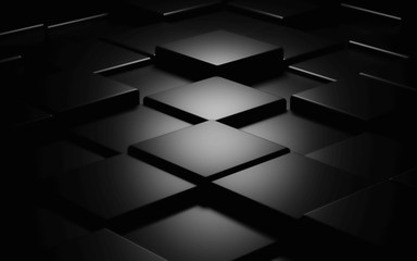 Black cube abstract texture background3d illustration render
