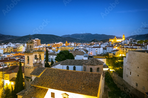 Cityscape of Jaen at night, Andalusia, Spain