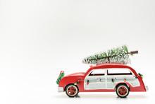 Miniature Red Vintage Car Carr...