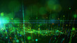 canvas print picture Abstract background shining green and colorful dust particles glow, wave and grow up movement. 3D rendering.