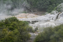 New Zealand Steam Geysers. New Zealand Landscapes.