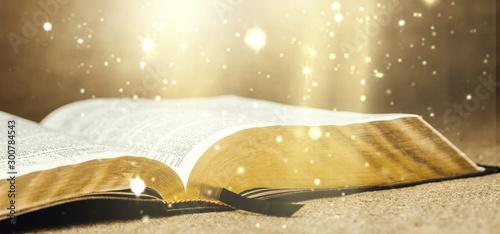 Fotografie, Obraz Open Holy bible book, close-up view