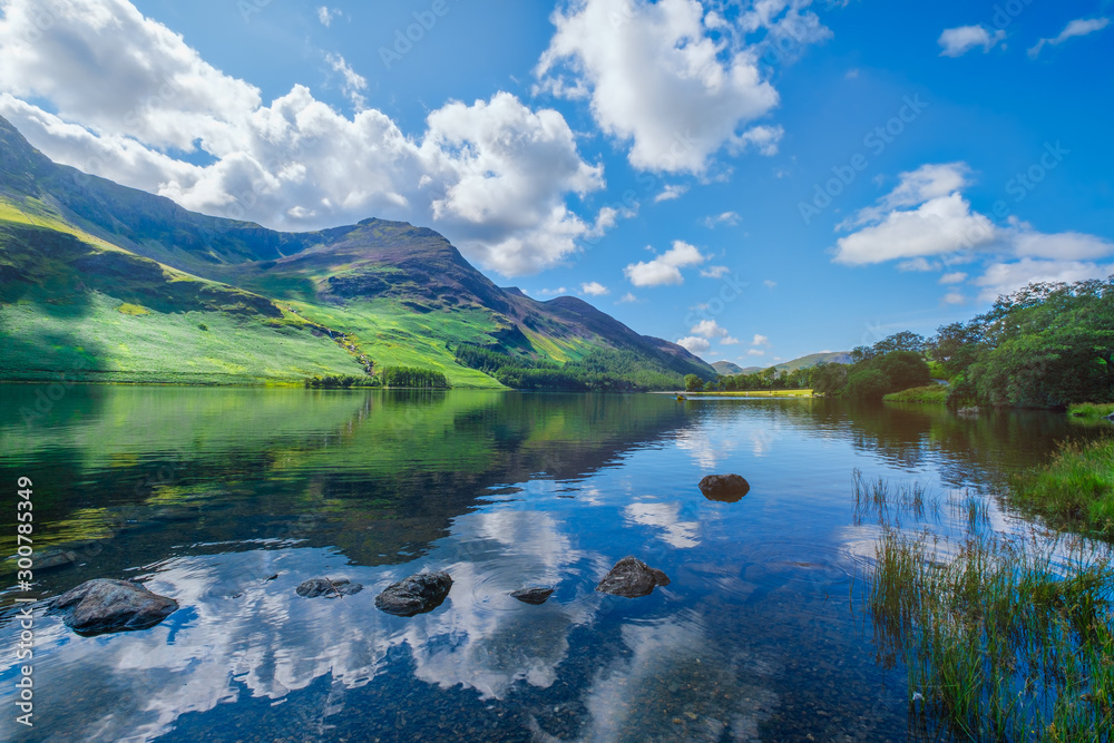 Fototapety, obrazy: Mountains reflected on a lake at the Lake District in England