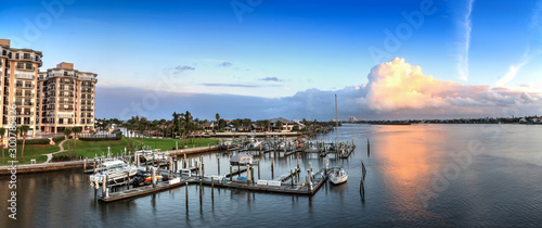 Boats and waterfront view at dawn over the Indian River Fototapeta