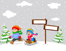 Kids Playing A Sleigh Ride In Winter