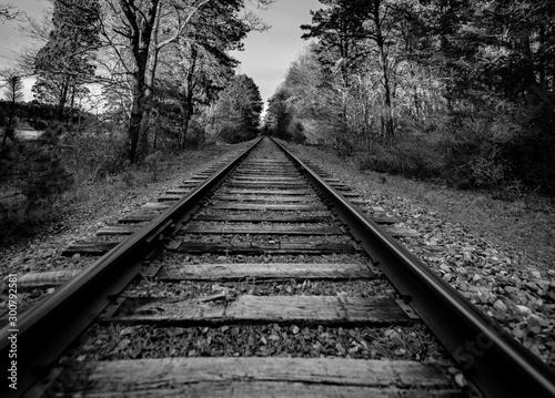 train track black and white