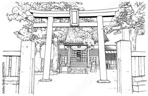 漫画風ペン画イラスト 神社 - 300794574
