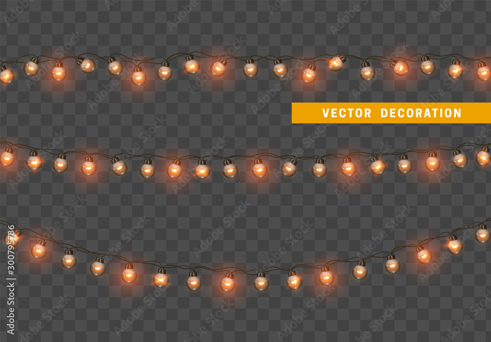 Fototapety, obrazy: Christmas lights. Design element, decorations new year glowing lights. Decorative Xmas realistic objects. Holiday decor set of garlands. Isolated on transparent background. vector illustration
