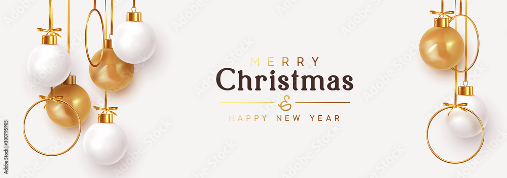 Fototapety, obrazy: Christmas banner. Hanging white and gold Xmas decorative bauble, 3d golden metallic ball on the ribbon. Festive realistic decor. Horizontal Christmas poster, header website. vector illustration
