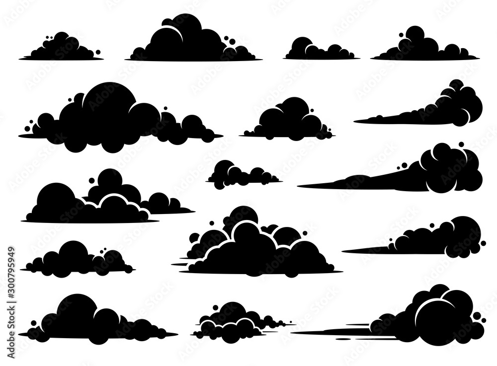 Fototapeta Cloud vector graphic design. A set of clouds illustration in the sky in black silhouette.