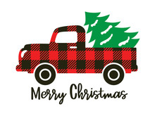 Cute Truck With Red Buffalo Plaid Pattern Carrying A Christmas Tree Vector Illustration.