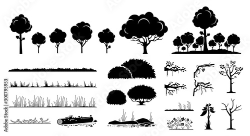 Foto Tree, plants, and grass vector graphic design