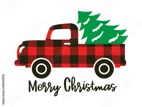 Cuadros en Lienzo Cute truck with red buffalo plaid pattern carrying a Christmas tree vector illustration