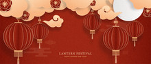 Lantern Festival And Happy Chinese New Year With Red Lanterns And Clouds On Red Chinese Pattern Background. Paper Cut Style. Vector Illustration.