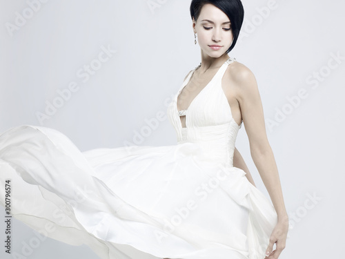 Recess Fitting womenART Beautiful young lady in a billowing white dress