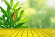 Leinwandbild Motiv top golden metal desk with blur green leaves pattern for summer or spring season concept,leaf with natural bokeh textured background
