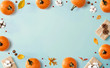 canvas print picture - Autumn theme with orange pumpkins - flat lay