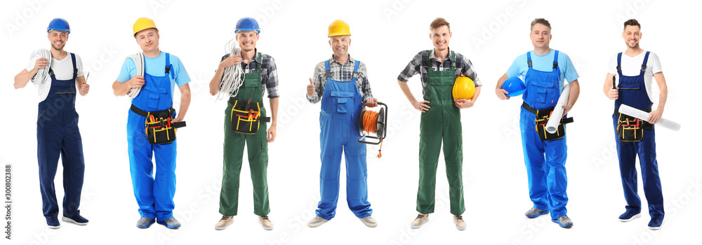 Fototapeta Different male electricians on white background
