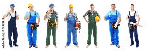 Obraz Different male electricians on white background - fototapety do salonu