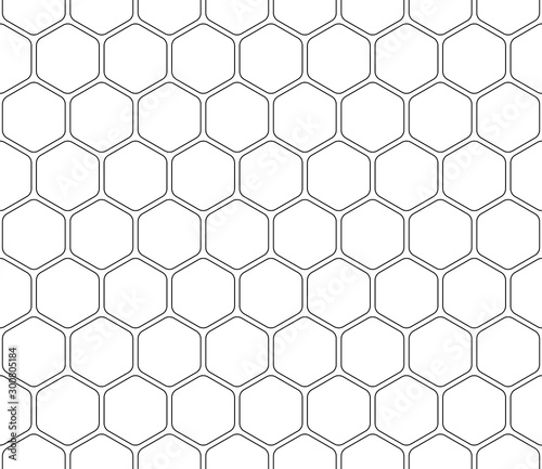 Seamless pattern hexagon, stroke editable. Canvas Print