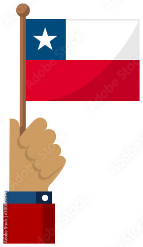 Fotografie, Obraz Holding the national flag in hand , flat vector illustration / Chile