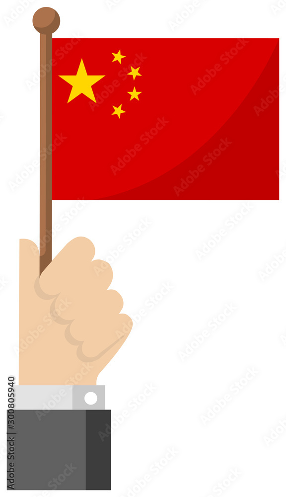 Fotografie, Obraz Holding the national flag in hand , flat vector illustration / China